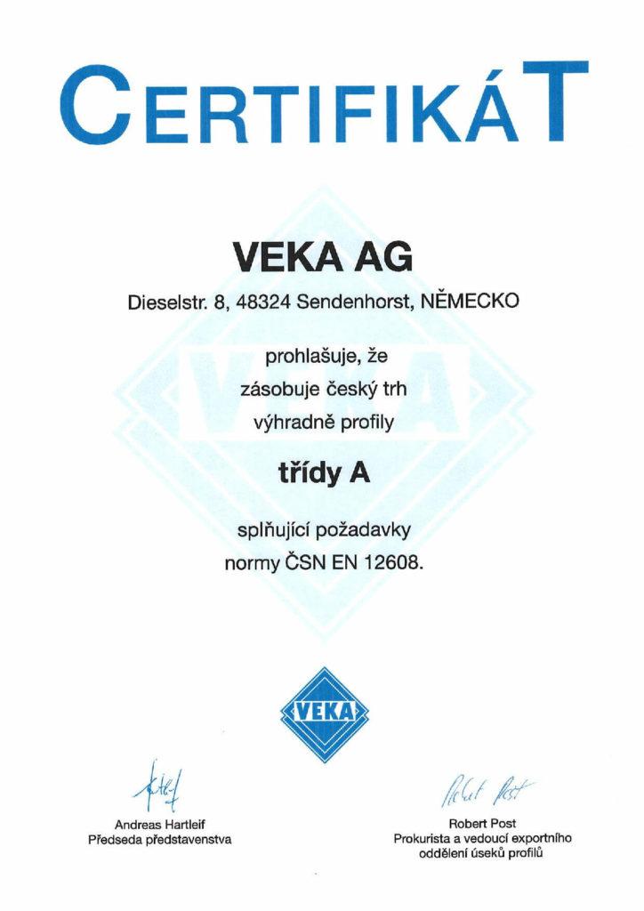 VEKA certifikát profily třídy A